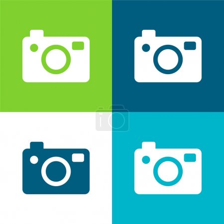 Illustration pour Grand appareil photo plat quatre couleurs minimum icône ensemble - image libre de droit