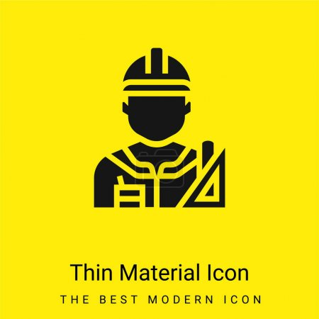 Photo pour Architecte minime icône matérielle jaune vif - image libre de droit