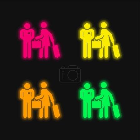 Photo pour Icône vectorielle néon quatre couleurs Bellboy - image libre de droit