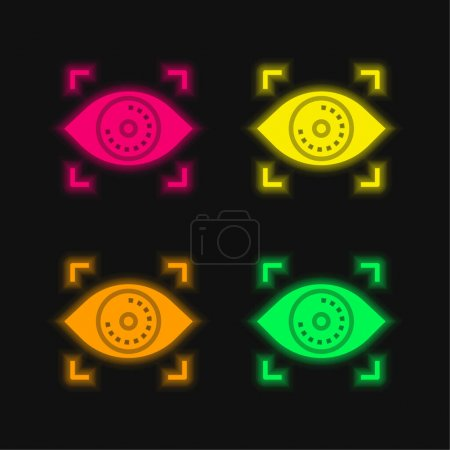 Illustration pour Reconnaissance biométrique icône vectorielle néon à quatre couleurs - image libre de droit