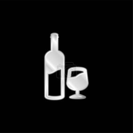 Illustration for Bottle And Glass Of Wine silver plated metallic icon - Royalty Free Image