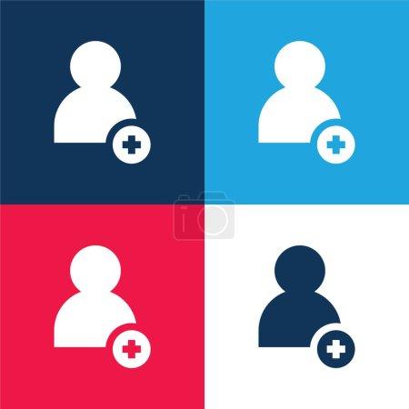 Illustration pour Ajouter Ami bleu et rouge quatre couleurs minimum jeu d'icônes - image libre de droit