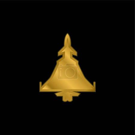 Illustration pour Army Airplane Silhouette plaqué or icône métallique ou logo vecteur - image libre de droit