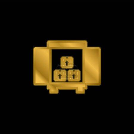 Illustration pour Boîtes de rangement pour livraison à l'intérieur d'une boîte de camion à partir de l'icône métallique plaqué or ou d'un vecteur de logo - image libre de droit