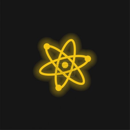 Photo for Atoms Symbol yellow glowing neon icon - Royalty Free Image