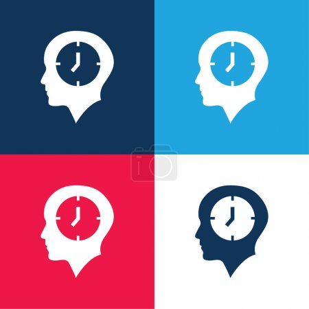 Illustration for Bald Head With A Clock blue and red four color minimal icon set - Royalty Free Image