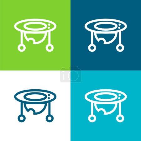 Baby Walker Flache Vier-Farben-Minimalsymbolset