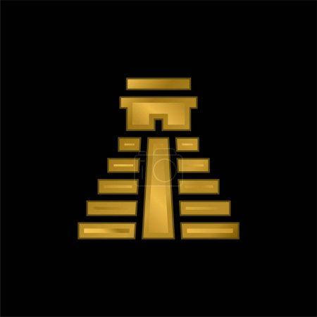 Photo pour Icône métallique plaqué or pyramide aztèque ou vecteur de logo - image libre de droit