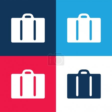 Illustration for Black Travelling Suitcase blue and red four color minimal icon set - Royalty Free Image