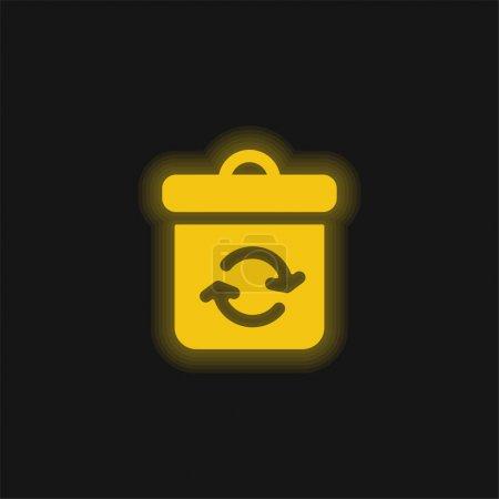 Illustration pour Icône au néon jaune poubelle - image libre de droit