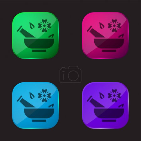 Illustration for Aromatherapy four color glass button icon - Royalty Free Image