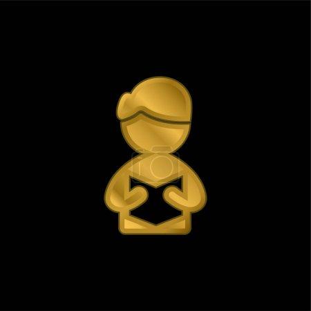 Illustration pour Livre plaqué or icône métallique ou logo vecteur - image libre de droit