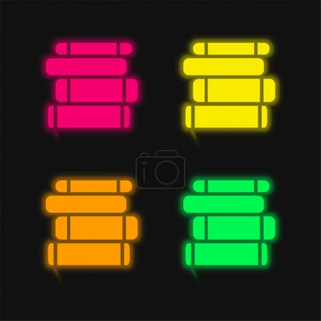 Illustration for Book Pile four color glowing neon vector icon - Royalty Free Image