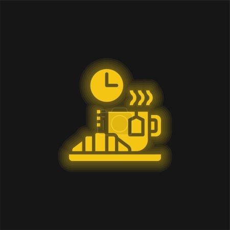 Photo pour Rompre jaune brillant icône néon - image libre de droit