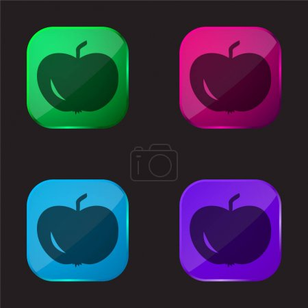 Illustration for Apple Of Black Shape four color glass button icon - Royalty Free Image