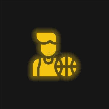 Foto de Jugador de baloncesto amarillo brillante icono de neón - Imagen libre de derechos