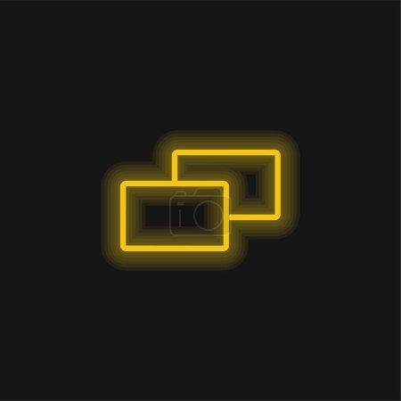 Photo pour Icône néon jaune 2 carrés - image libre de droit