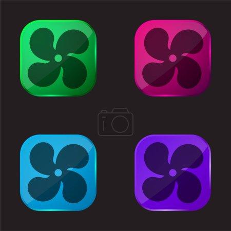 Illustration pour Ac icône de bouton en verre quatre couleurs - image libre de droit
