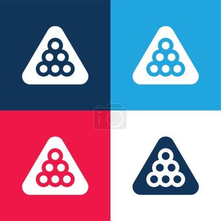 Photo pour Ensemble d'icônes minime quatre couleurs bleu billard et rouge - image libre de droit