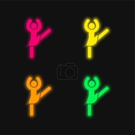 Ballerina Pose four color glowing neon vector icon