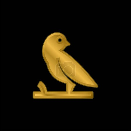 Bird On A Branch gold plated metalic icon or logo vector