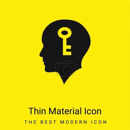 Illustration pour Tête chauve avec une clé à l'intérieur icône minimale de matériau jaune vif - image libre de droit
