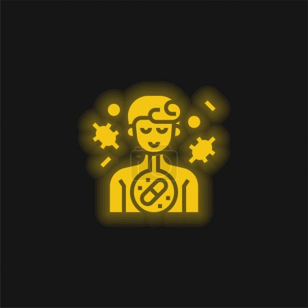 Illustration for Antibiotic yellow glowing neon icon - Royalty Free Image