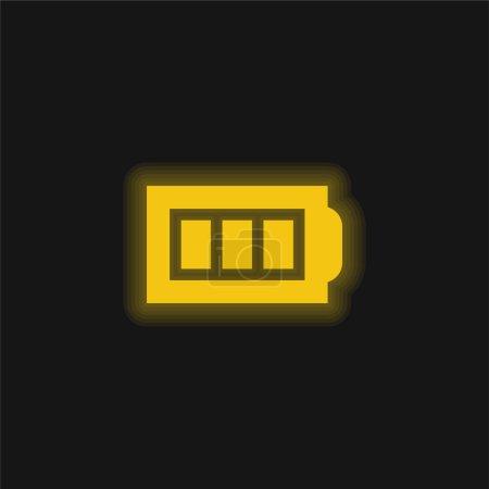 Illustration pour Batterie jaune brillant icône néon - image libre de droit