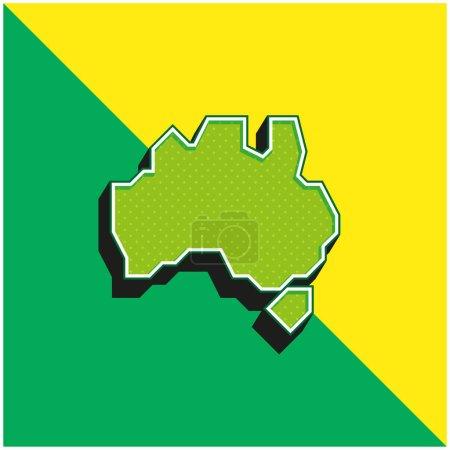Australia Verde y amarillo moderno 3d vector icono logo