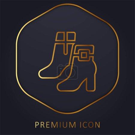 Boots golden line premium logo or icon
