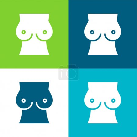 Illustration for Breast Flat four color minimal icon set - Royalty Free Image
