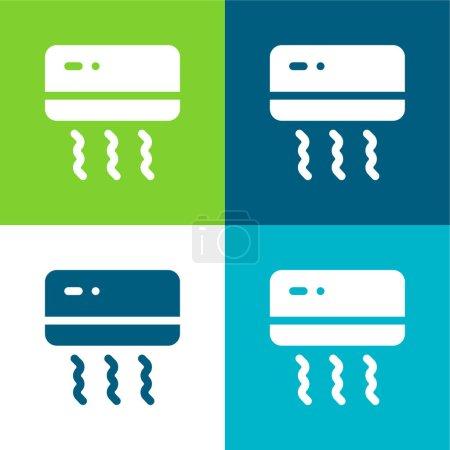 Air Conditioner Flat four color minimal icon set