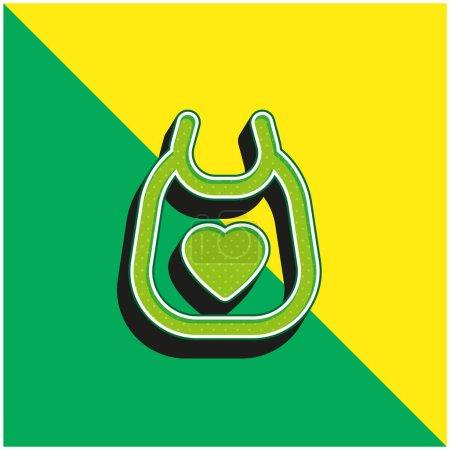 Illustration pour Bavoir bébé Logo vectoriel 3d moderne vert et jaune - image libre de droit