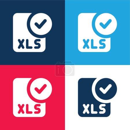 Illustration pour Approuver bleu et rouge quatre couleurs minimum jeu d'icônes - image libre de droit