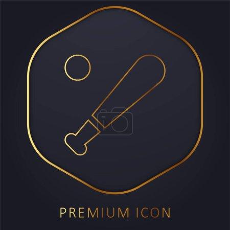 Photo pour Baseball ligne d'or logo premium ou icône - image libre de droit