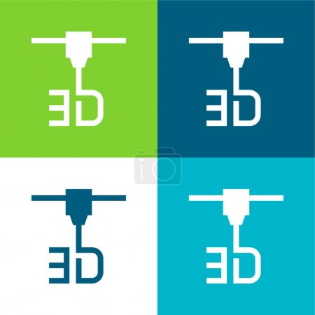 Photo for 3d Printer Flat four color minimal icon set - Royalty Free Image