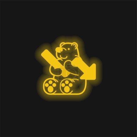 Illustration pour Ours jaune brillant icône néon - image libre de droit