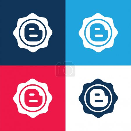 Illustration for Blogger Social Badge blue and red four color minimal icon set - Royalty Free Image