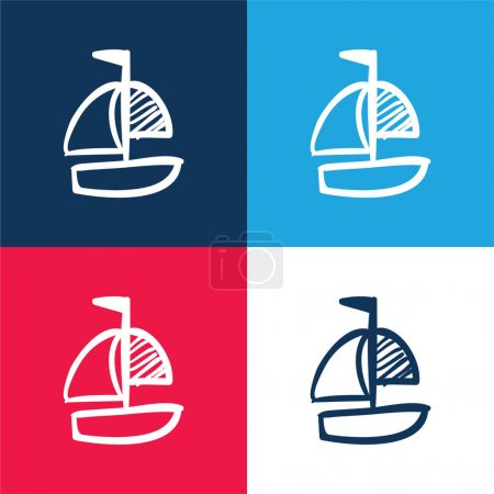 Boat Hand Drawn Toy blue and red four color minimal icon set