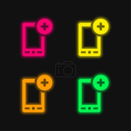 Add Phone four color glowing neon vector icon