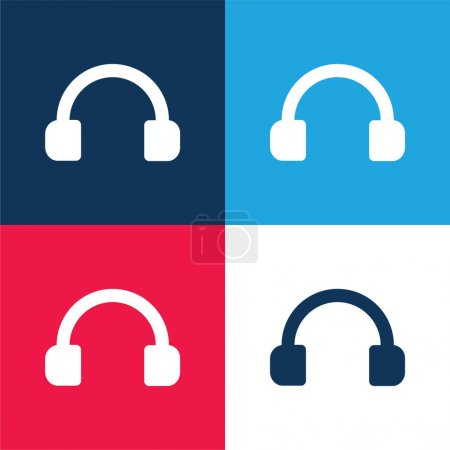 Audio Headset Tool blue and red four color minimal icon set