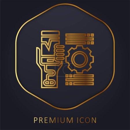Illustration for Addiction golden line premium logo or icon - Royalty Free Image