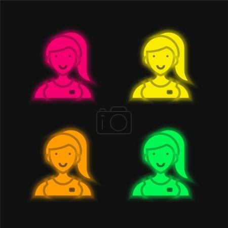 Illustration pour Assistant quatre couleurs rougeoyantes icône vectorielle néon - image libre de droit