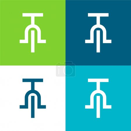 Illustration for Bicycle Flat four color minimal icon set - Royalty Free Image