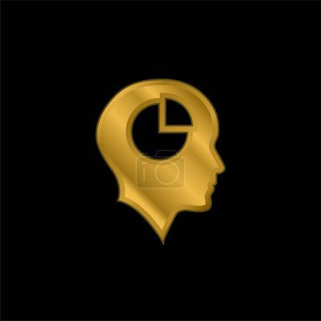 Illustration pour Tête chauve avec graphique à tarte à l'intérieur icône métallique plaqué or ou vecteur de logo - image libre de droit