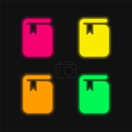 Illustration pour Livre avec signet quatre couleur brillant icône vectorielle néon - image libre de droit