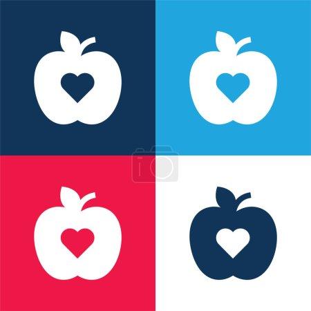 Photo pour Ensemble d'icônes minime quatre couleurs bleu pomme et rouge - image libre de droit