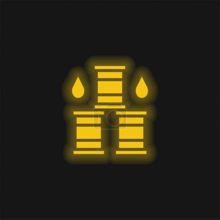 Barril amarillo brillante icono de neón
