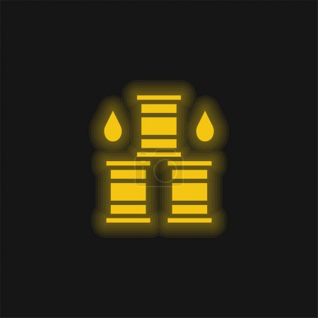 Barrel yellow glowing neon icon