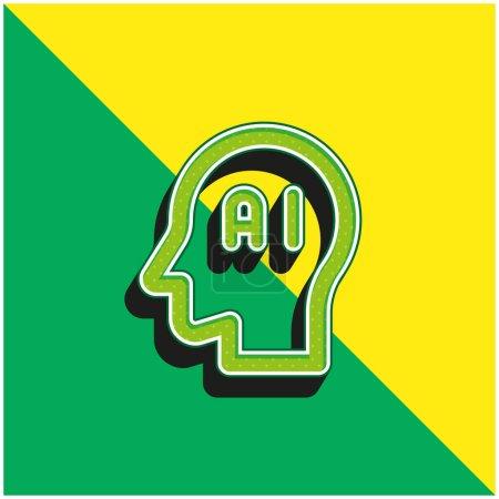 Illustration pour Cerveau Vert et jaune moderne icône vectorielle 3d logo - image libre de droit